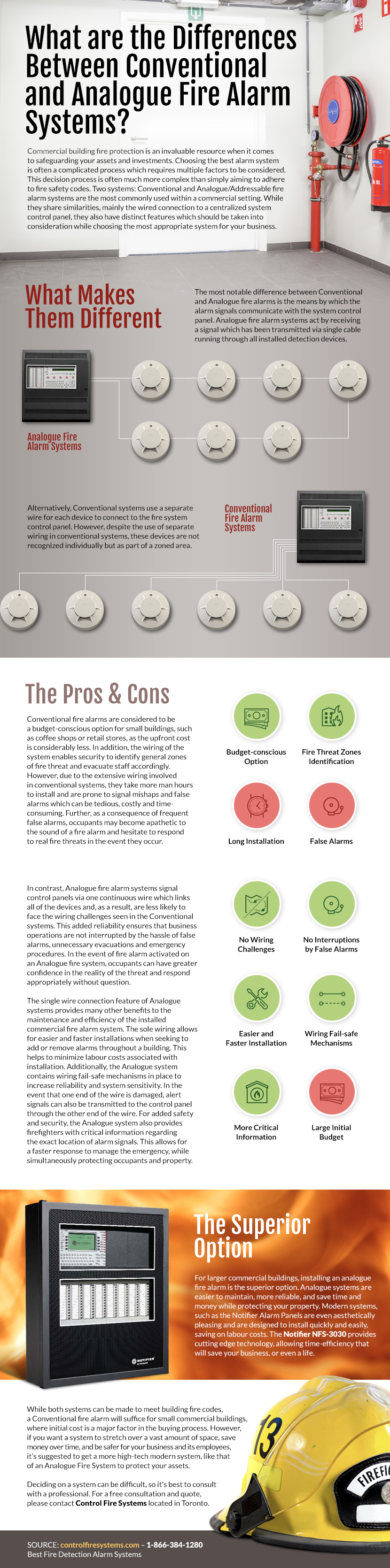 What Are the Differences Between Conventional and Analogue (Addressable) Fire Alarm Systems? - Control Fire Systems Ifographic