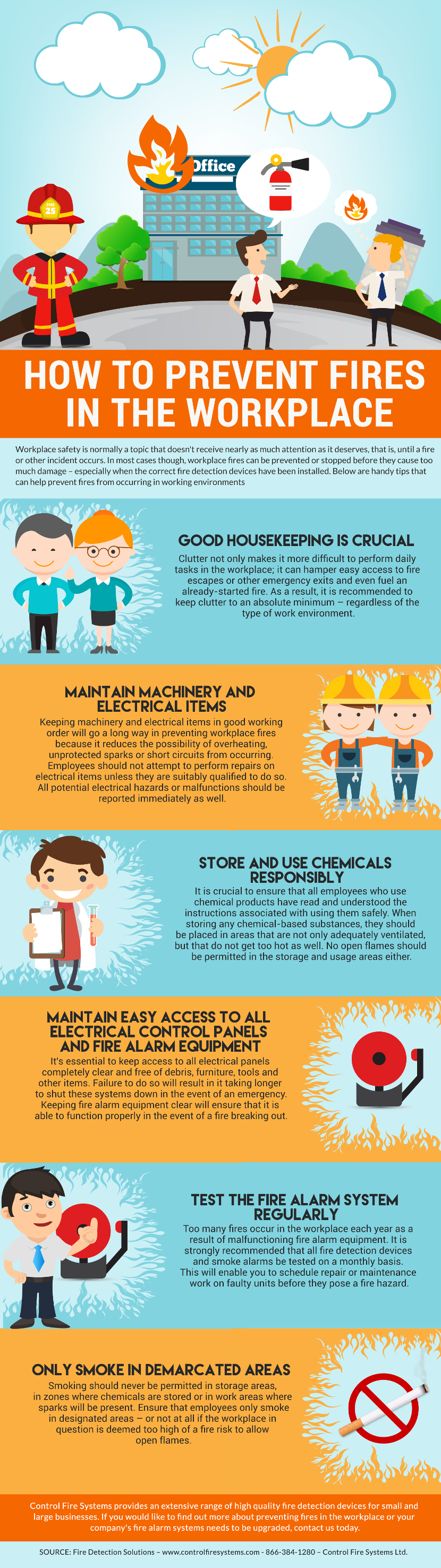 How to Prevent Fires in the Workplace - Control Fire Systems Ifographic